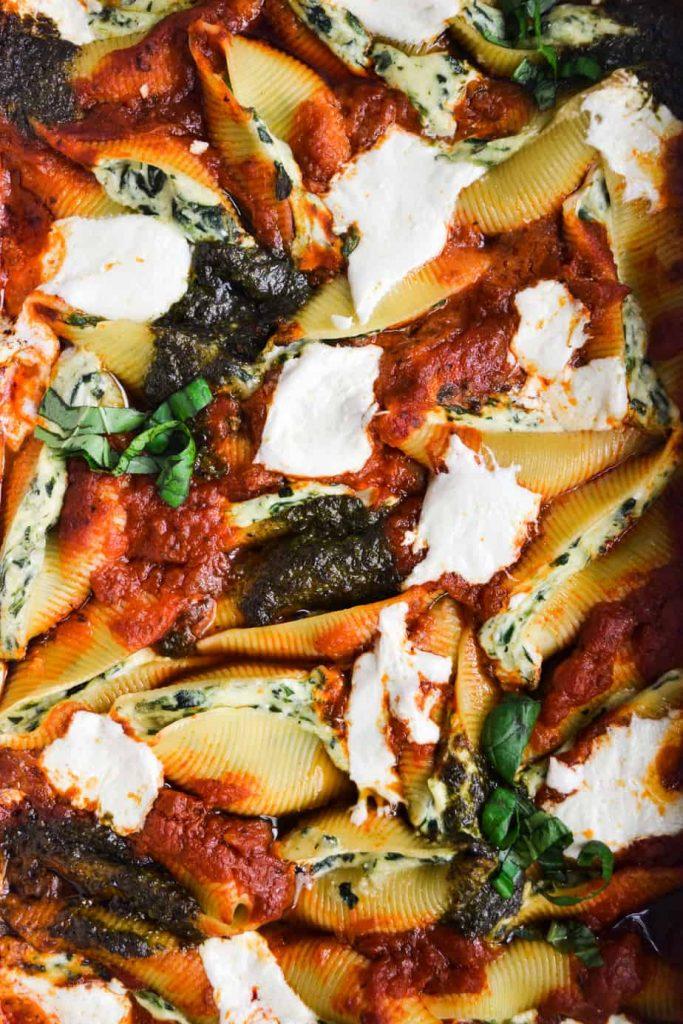 Spinach, Pesto & Cheese Stuffed Shells