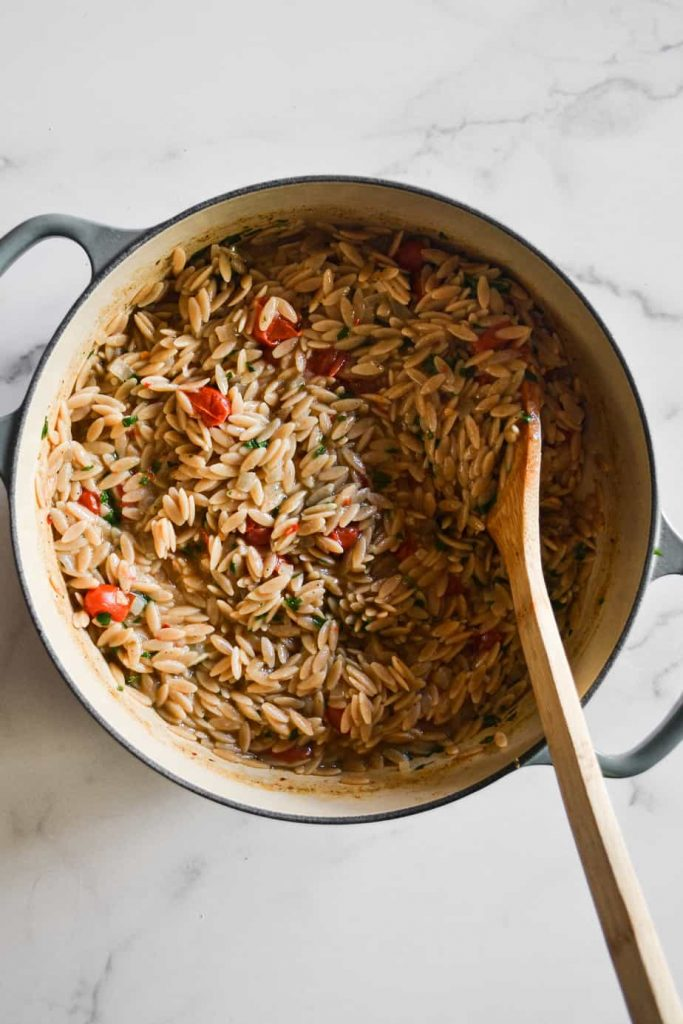 One Pot Cheesy Orzo with Tomatoes