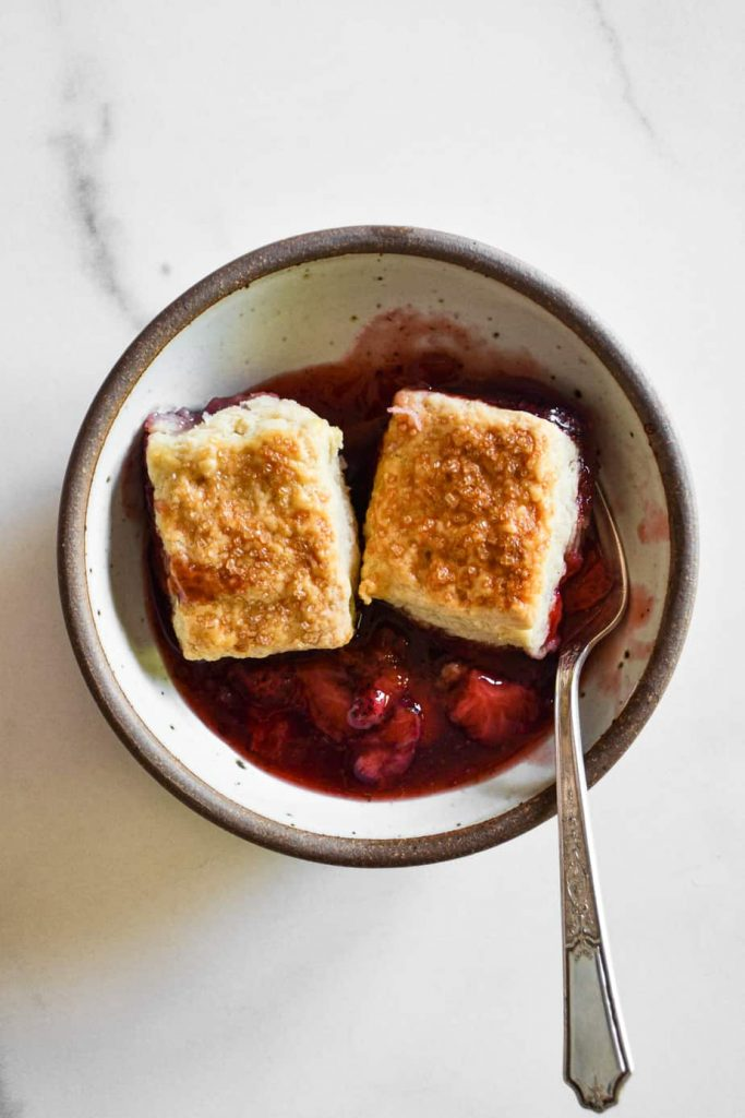 Strawberry & Raspberry Cardamom Biscuit Cobbler