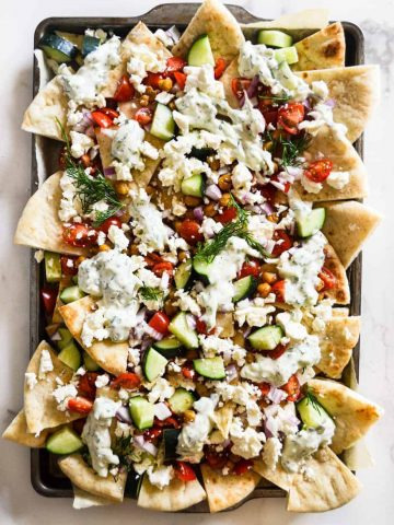 Loaded Vegetarian Greek Pita Nachos