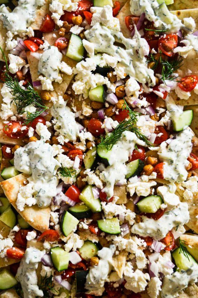 Loaded Vegetarian Greek Pita Nachos