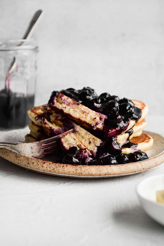 Fluffy Buttermilk Pancakes with Blueberry Compote
