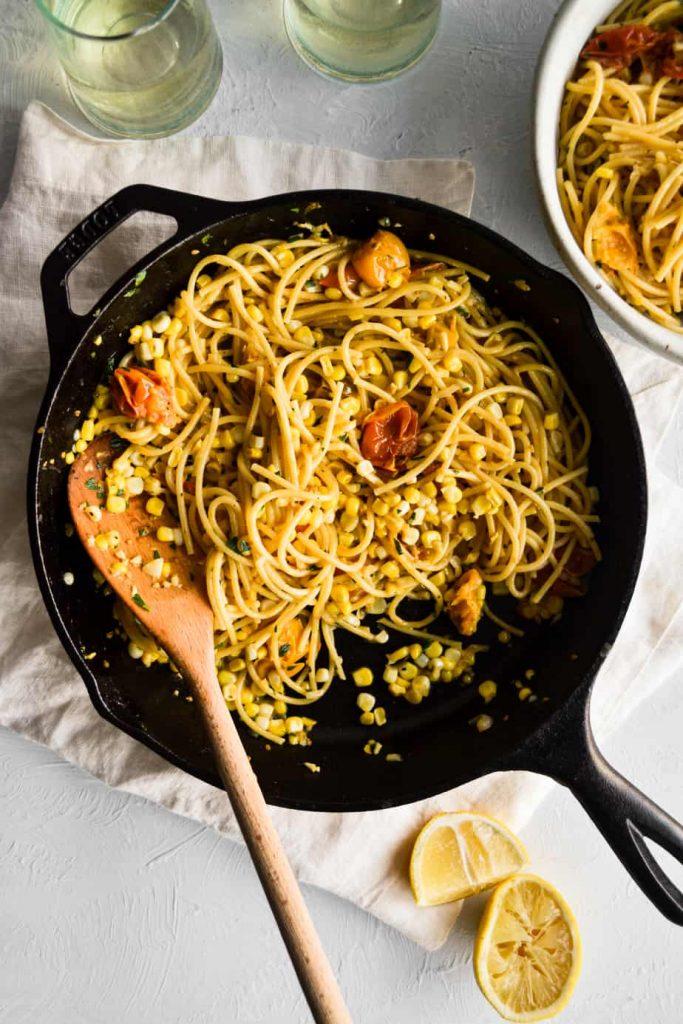 Super Easy Creamy Corn & Tomato Pasta
