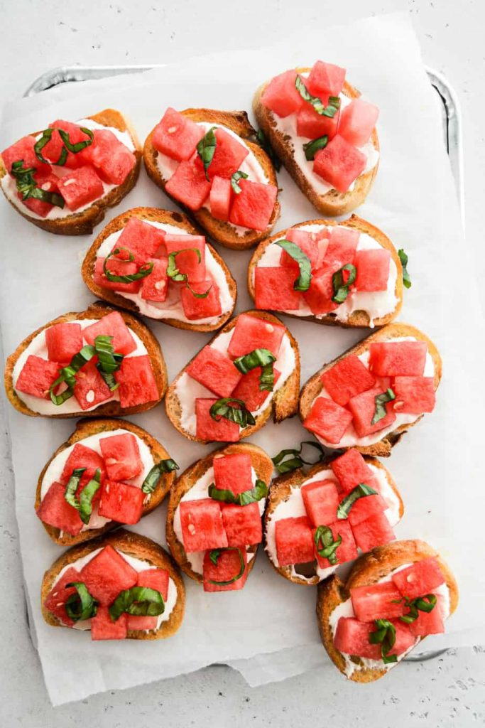 Watermelon and Whipped Feta Crostini
