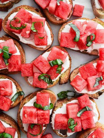 Watermelon and Whipped Feta Crostini