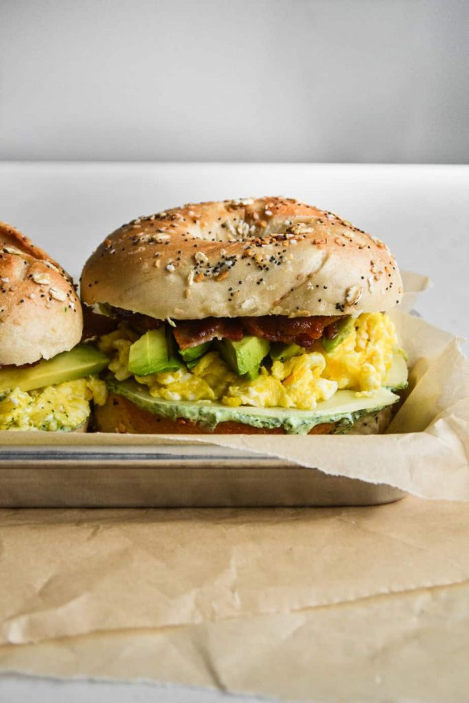 Green Goddess Bacon, Egg, and Cheese Sandwich