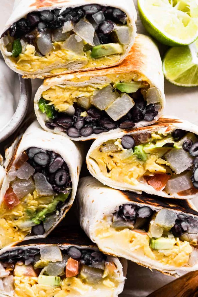Wrapped and finished vegetarian breakfast burritos