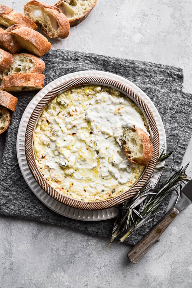 Dip with bread and rosemary