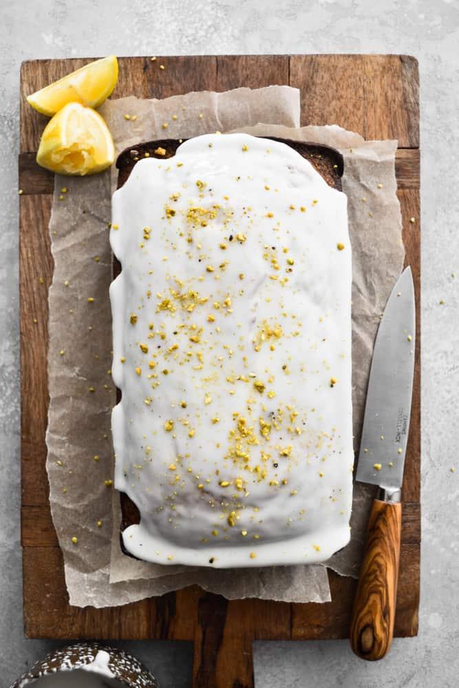Freshly Glazed Lemon Pistachio Loaf Cake