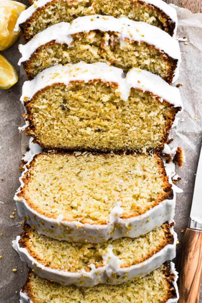 Freshly Sliced Lemon Pistachio Loaf Cake