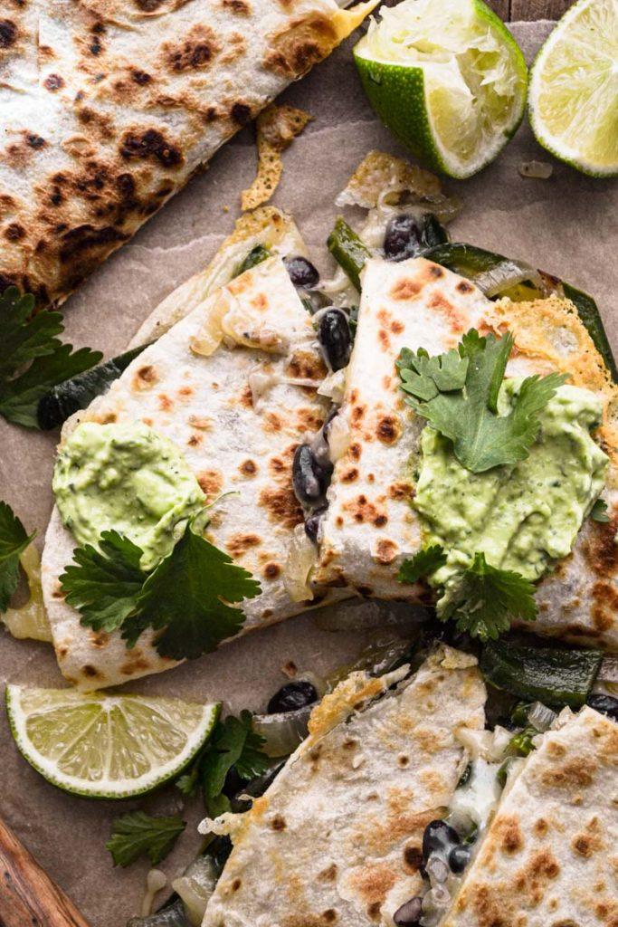 Up close quesadillas layered