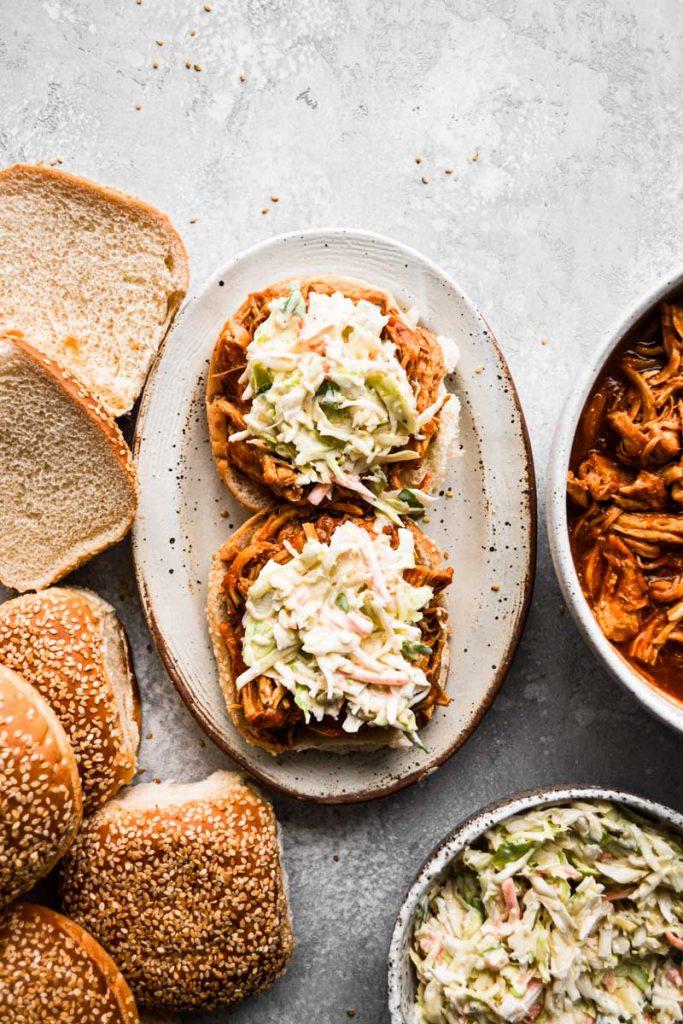 BBQ chicken on sandwich with coleslaw