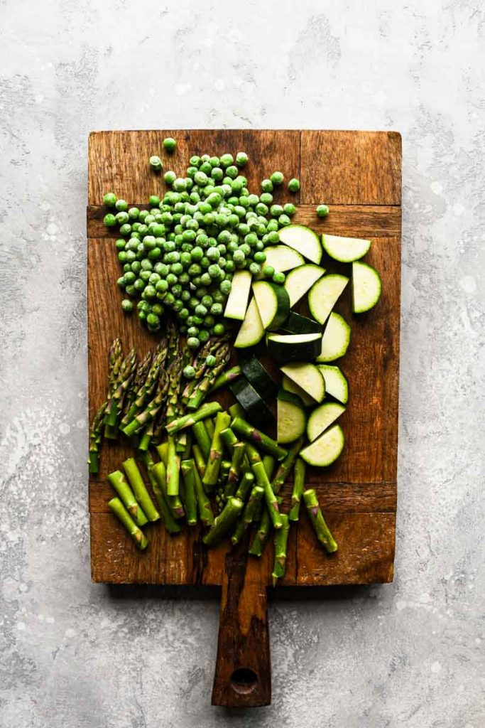 vegetables on a wood board