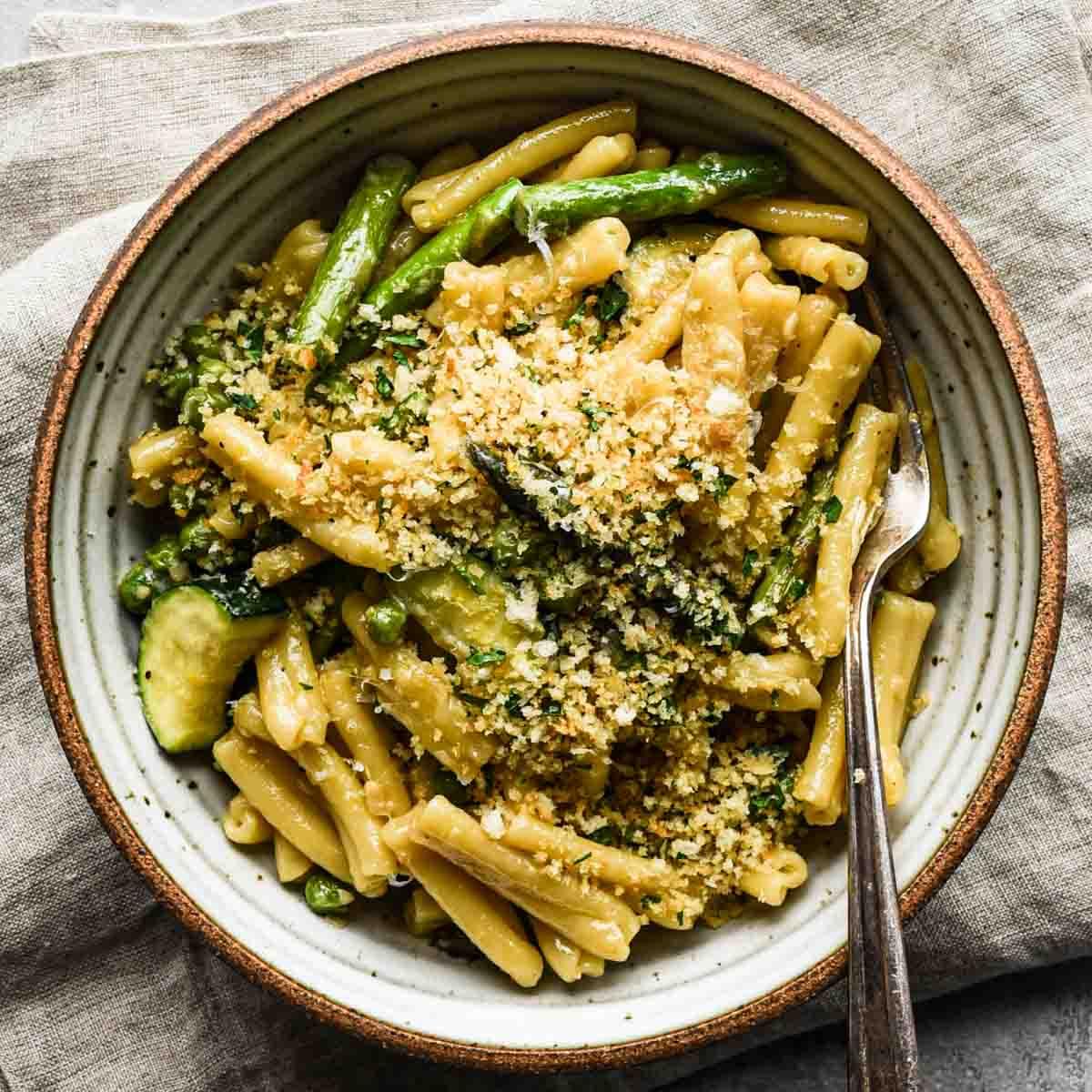 Creamy Spring Pasta In A Bowl