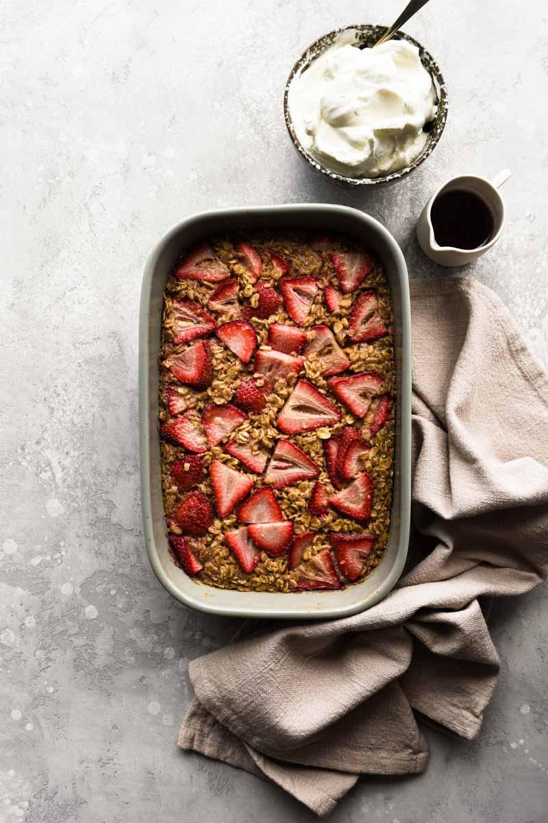 Strawberry baked oatmeal freshly baked.
