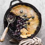 Finished image of skillet blueberry cobbler