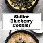 Long pin of skillet blueberry cobbler