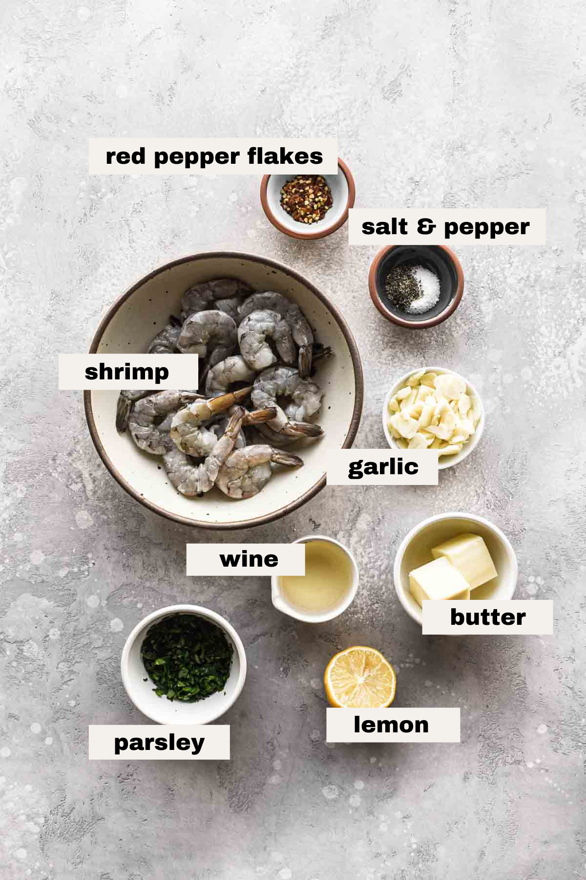 Ingredients laid out on a table with labels.